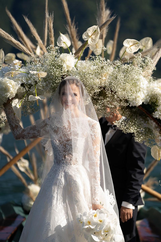 Happy bride portrait destination wedding featured Vogue US Villa Balbiano best luxury event venue Lake Como Milan Italy for exclusive rental