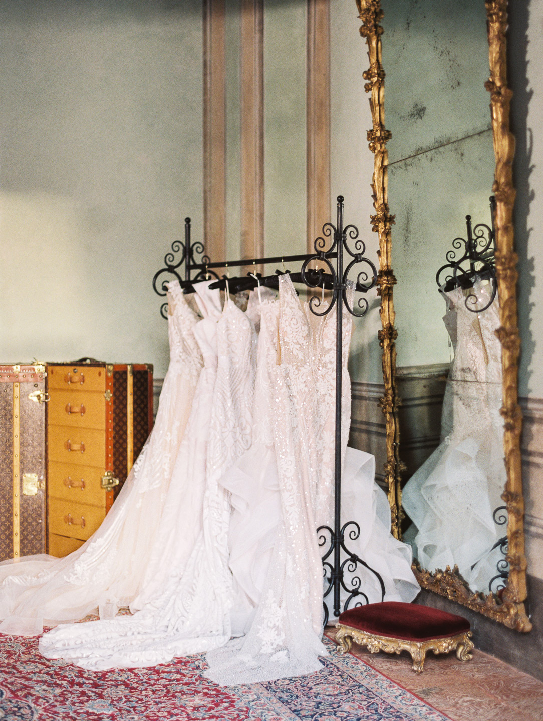 Villa Balbiano luxury property Lake Como Italy Milan best destination event wedding venue unique chic interiors Master Suite dressing room antique collection furniture couture ceremony bridal dresses