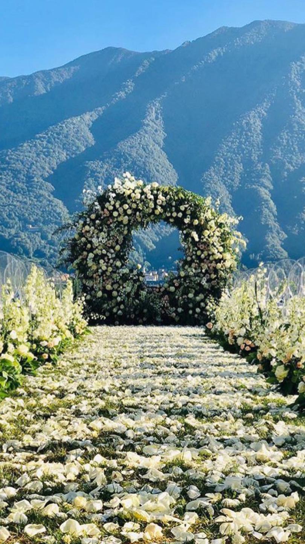 Villa Balbiano luxury property Lake Como Italy wedding ceremony arch decor decoration floral design best wedding planning service