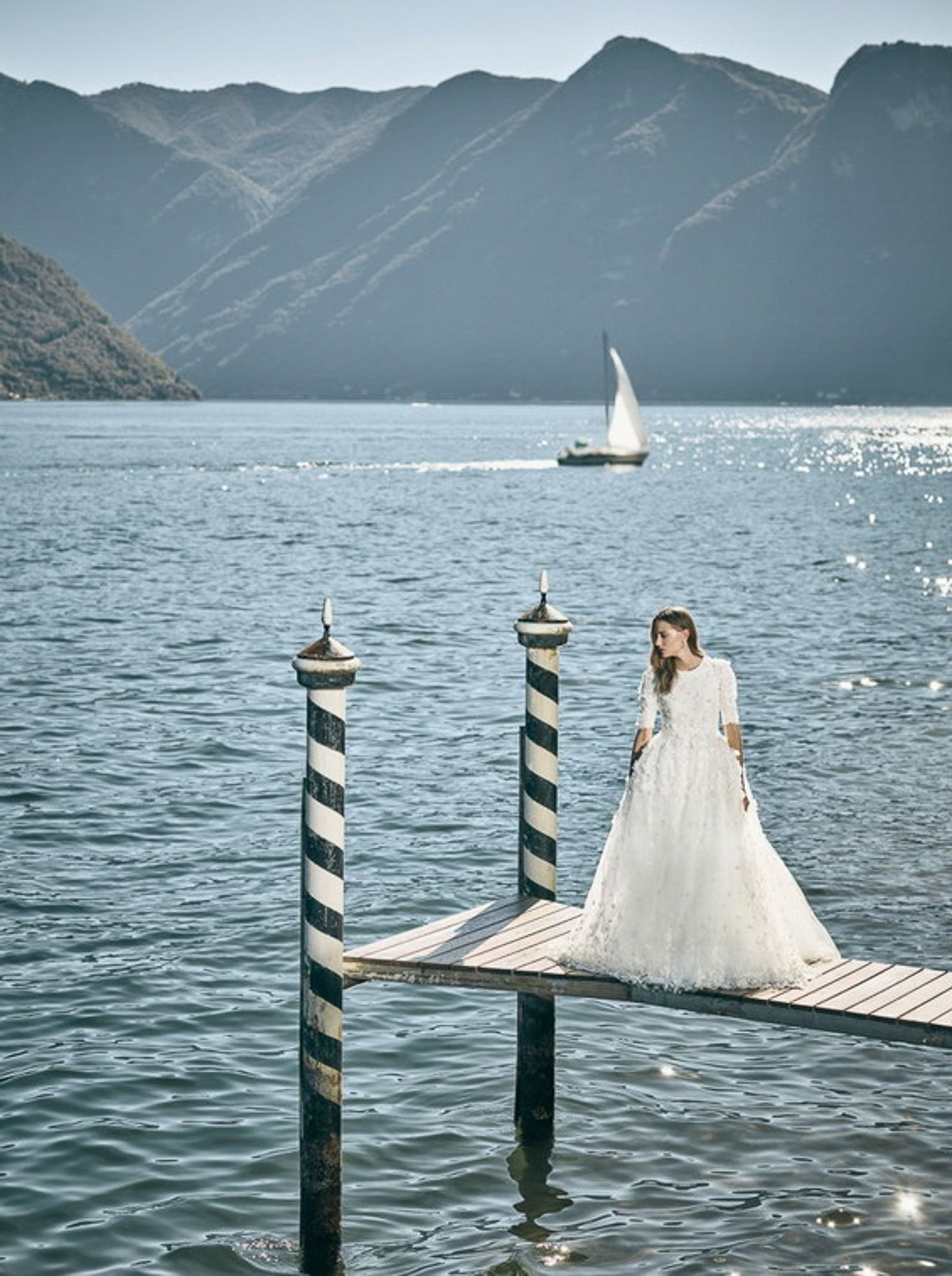 Villa Balbiano luxury property Lake Como Milan Italy available exclusive private rent rental photo shoot session couture dress stunning model Harpers Bazzar US water best view Italian nature