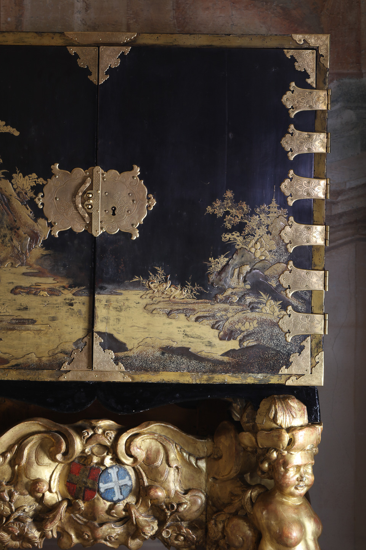 Villa Balbiano luxury property Lake Como Milan Italian classic interior 4 floors Master suite bedroom detail antique commode marquetry bronze original details intimate atmosphere