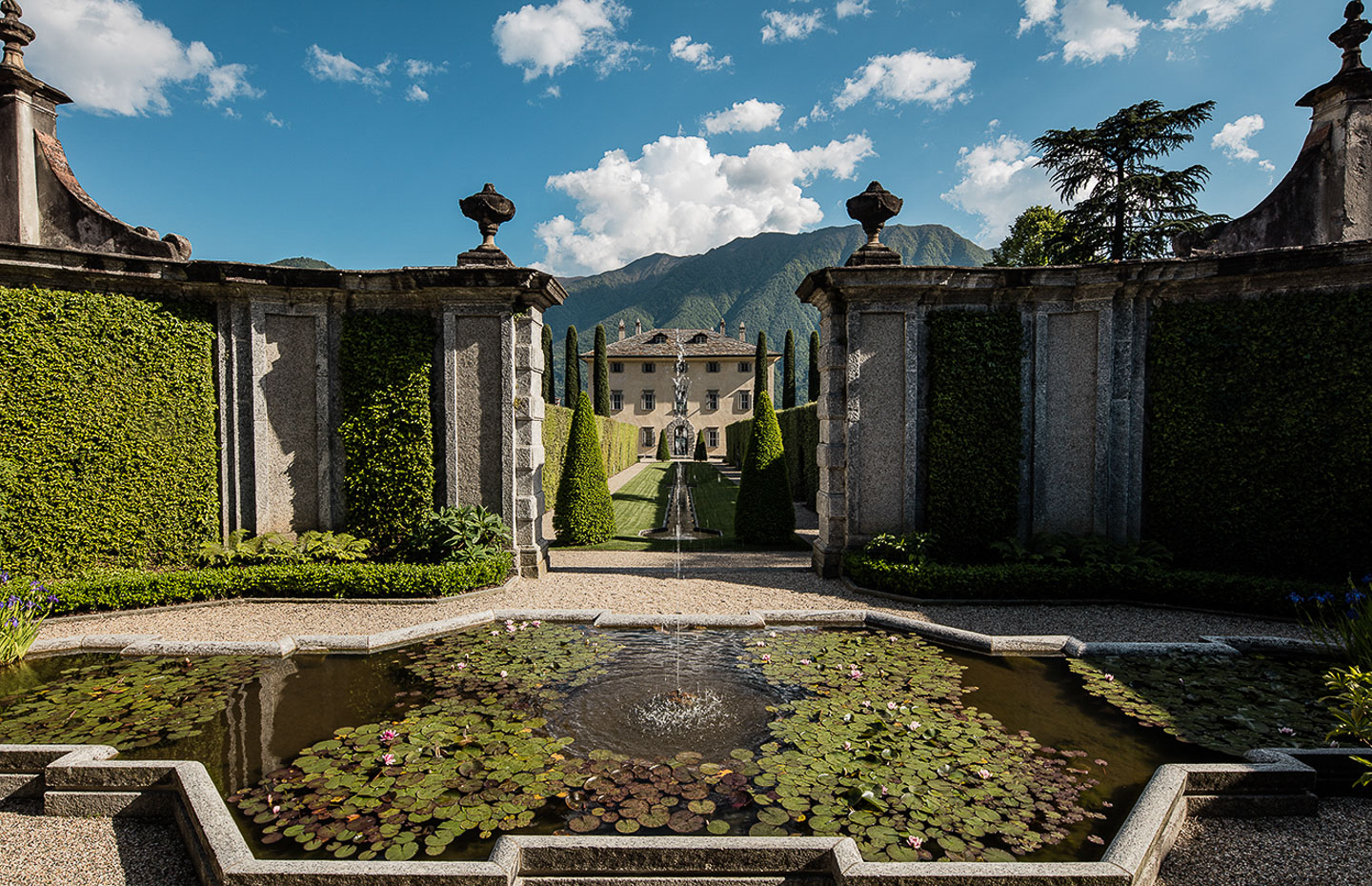 Villa Balbiano luxury property Lake Como oroginal famous provate residence cardinale Durini 17 century fountain lilies pond garden design