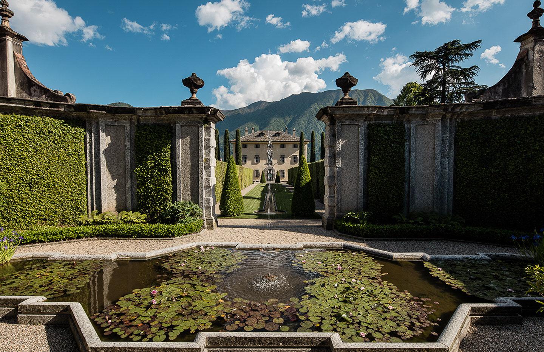 Villa Balbiano luxury property Lake Como oroginal famous provate residence cardinale Durini 17 century fountain lilies pond garden design