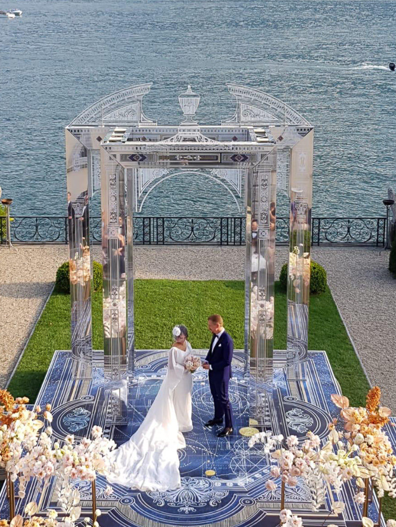 Villa Balbiano luxury property available for rent rental exclusive weddings events accommodation ceremony arch best space celebration bride groom floral design_