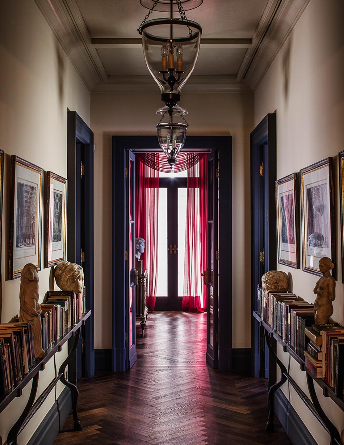 Villa Astor beautidul corridor vintage important book antique marble collection enjoyment guests for luxury travel accommodation rental