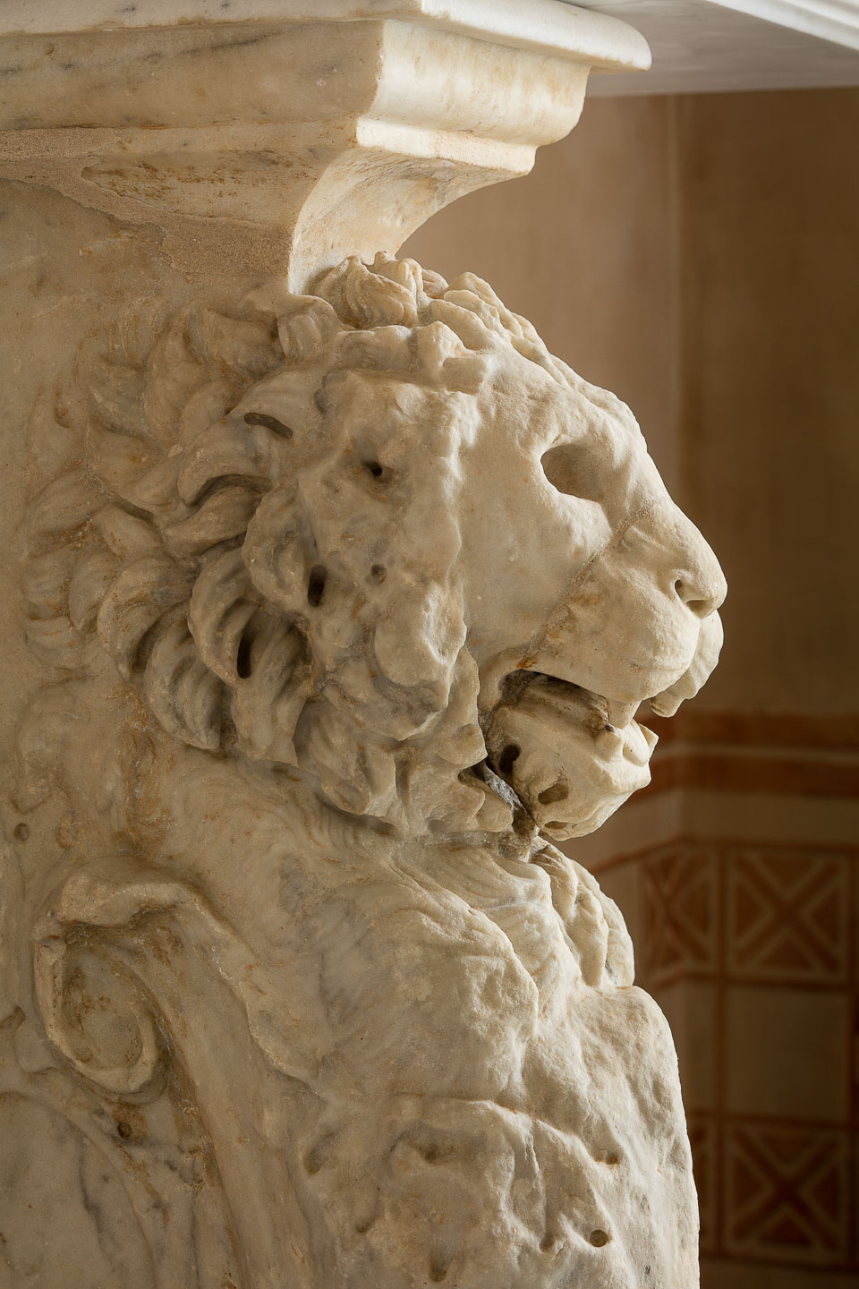 Villa Astor best luxury decor interior Italian real estate property Italian antique marble lion head enjoyment guests holiday party event The Heritage Collection rental