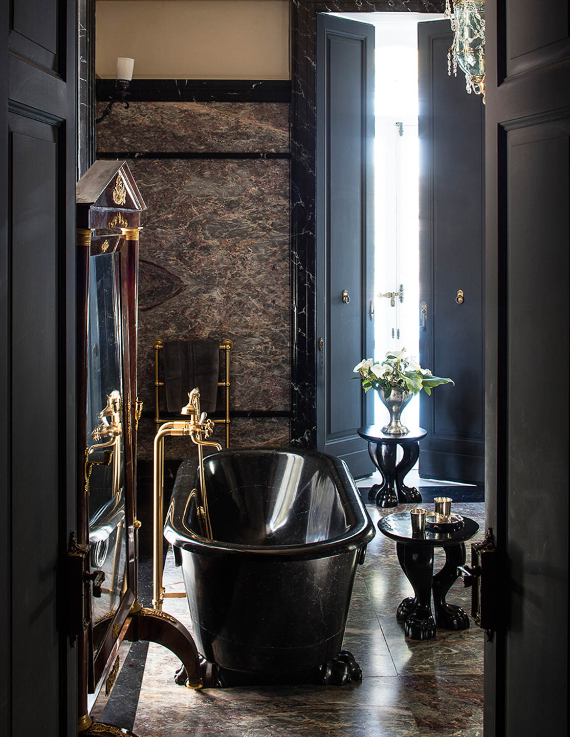 Villa Astor fantastic most beautiful marble master bathroom flower vase best decor French decoration luxurious Italian destination experience The Heritage Collection