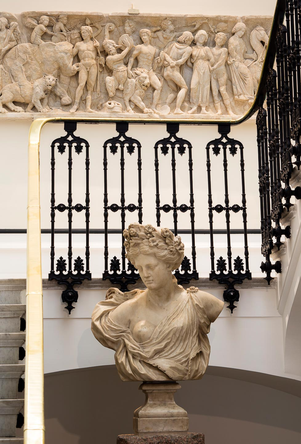 Villa Astor historical house Sorrento rental antiquities staircase floor bas relief antique female bust The Heritage Collection
