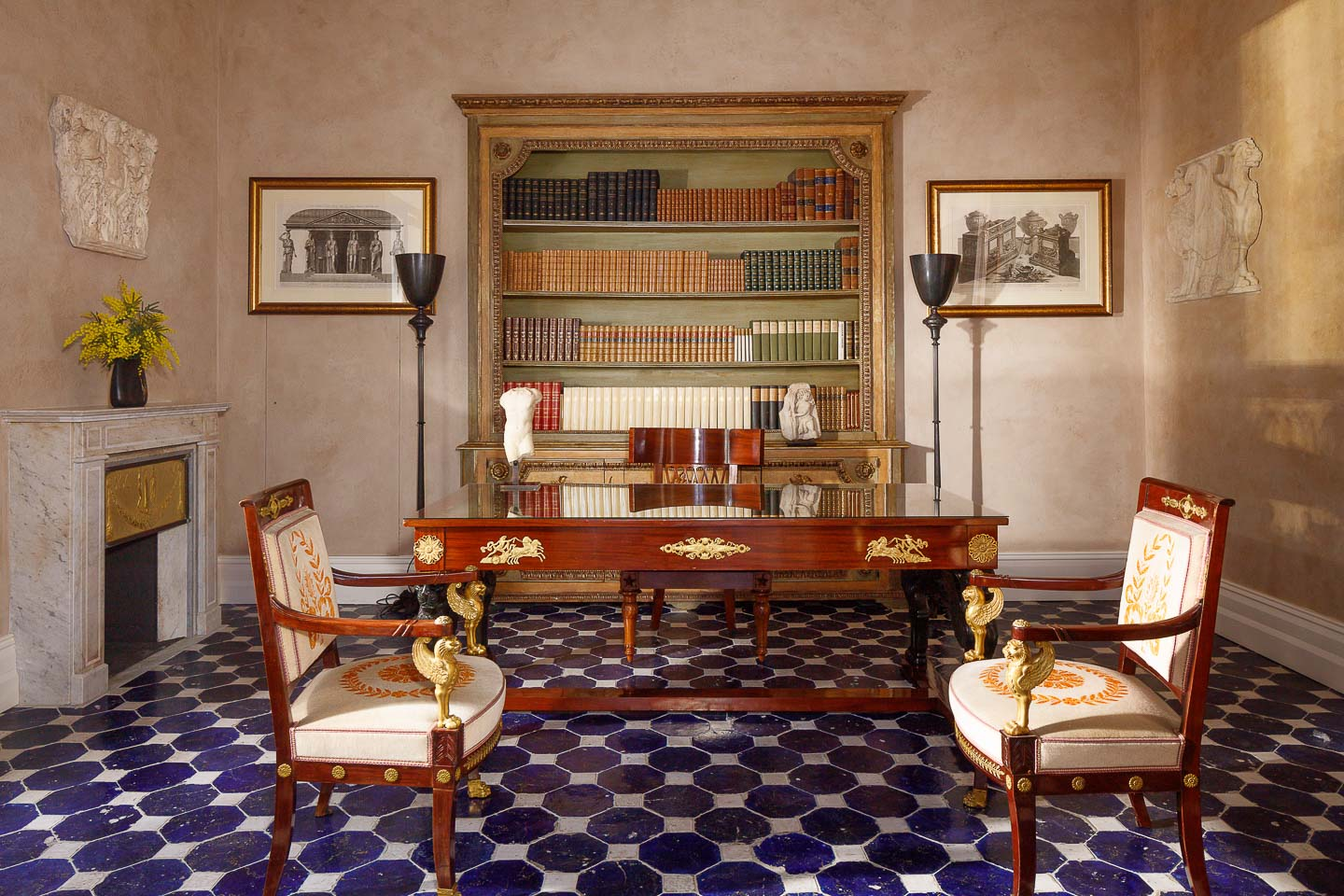 Villa Astor study room Benedetto Croce exquisite furniture antique collection Jacues Garciy exclusive accommodation guest stay summer Italian holiday vacation
