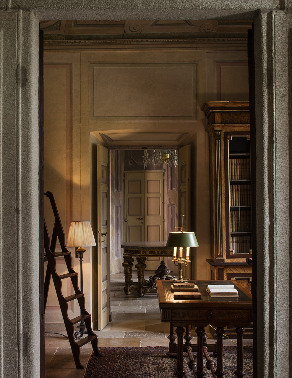 Villa Balbiano elegant private house available for rental on lake Como with illustrious history Sala del Durini named after cardinal Angelo Maria Durini elegant library room best exclusive service