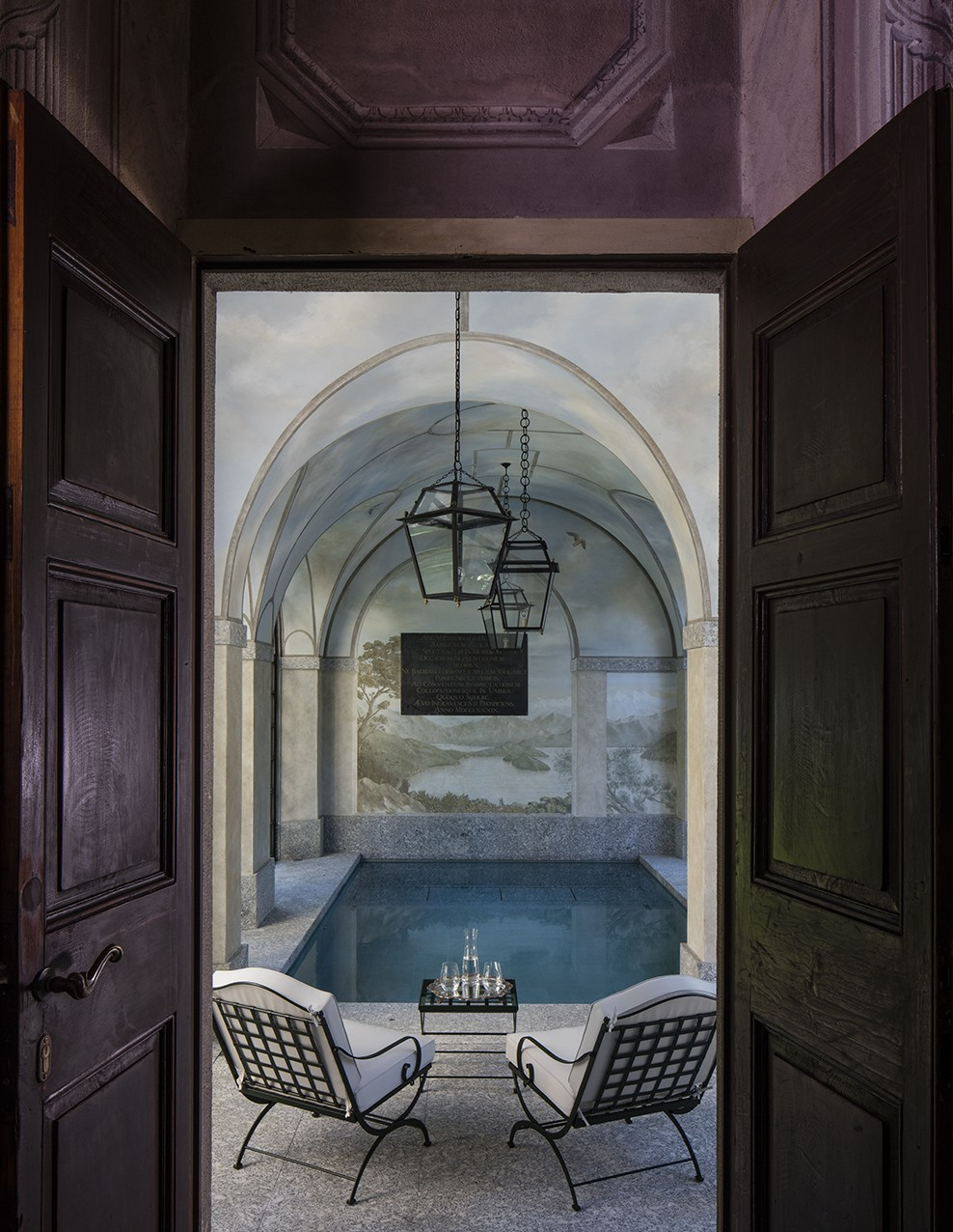 Villa Balbiano estate luxury property on lake Como guests can enjoy striking indoor swimming pool area accommodation best service
