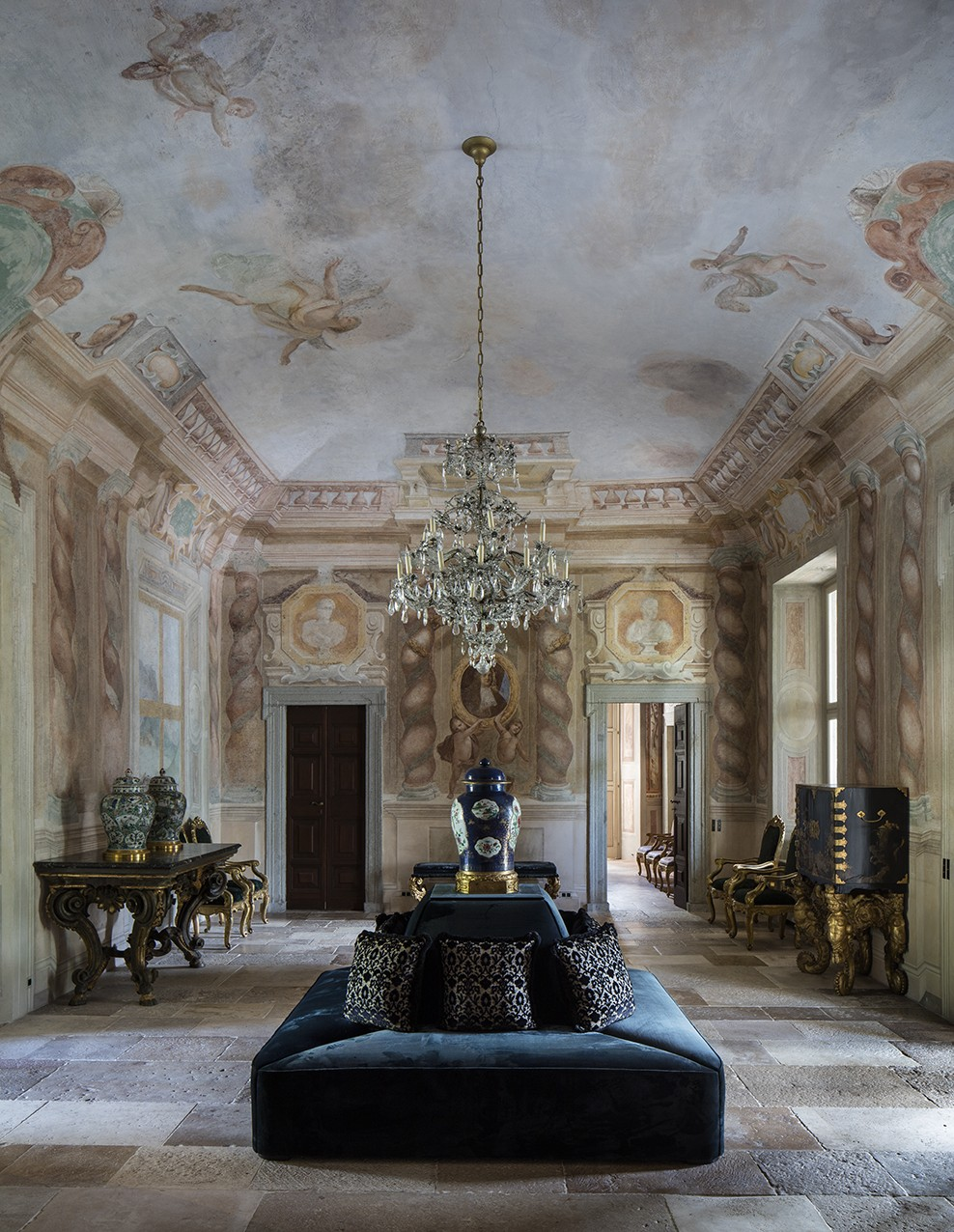 Villa Balbiano lake Como historical property available for exclusive rental ad events magnificent Grand Salon on ground floor 17th century frescoes chandelier antique furniture stone floor