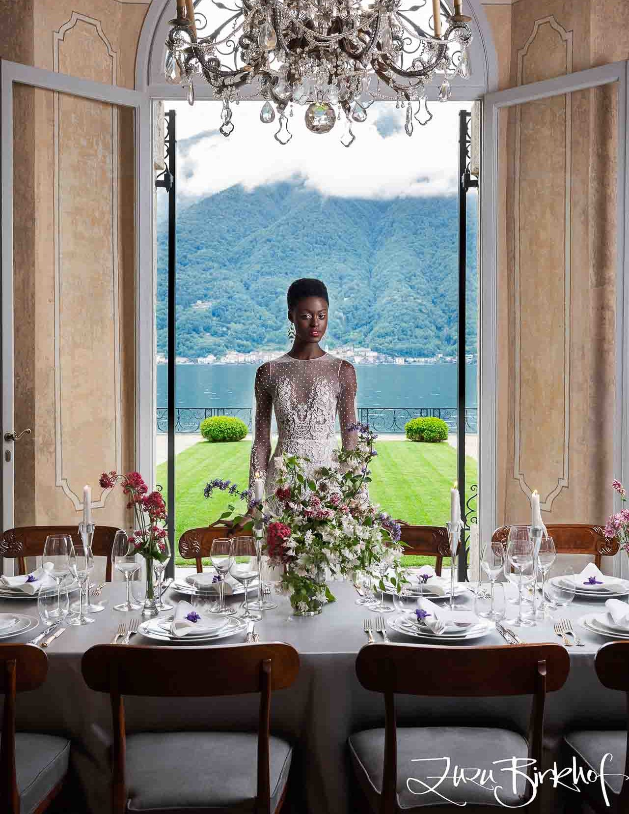 Villa Balbiano luxury property Lake Como Milan Italy Heritage Collection exclusive private rent rental best service table lake view stunning table setting model portrait wedding table decor 1 e1573587130831