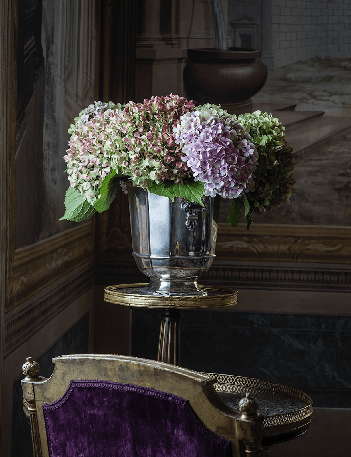 Villa Balbiano luxury property Lake Como Milan Italy classic decor decoration exquisite service best accommodation wedding events vintage silver vase flower design