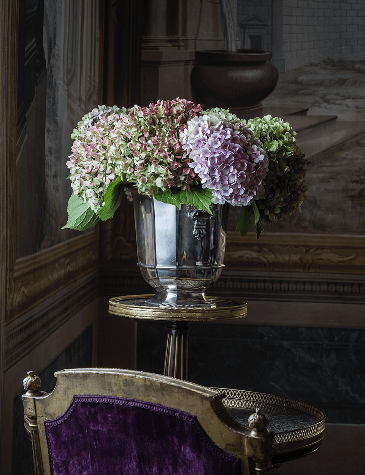 Villa Balbiano luxury property Lake Como Milan Italy classic decor decoration exquisite service best accommodation wedding events vintage silver vase flower design