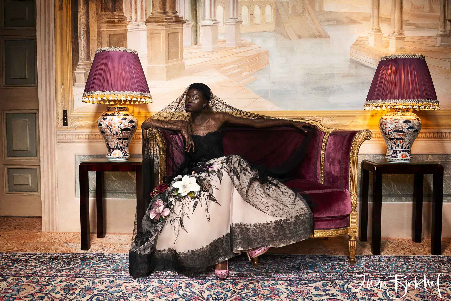 Villa Balbiano luxury property lake Como Milan Italy fashion glamorous model portrait living room antique furniture heritage collection couture dress