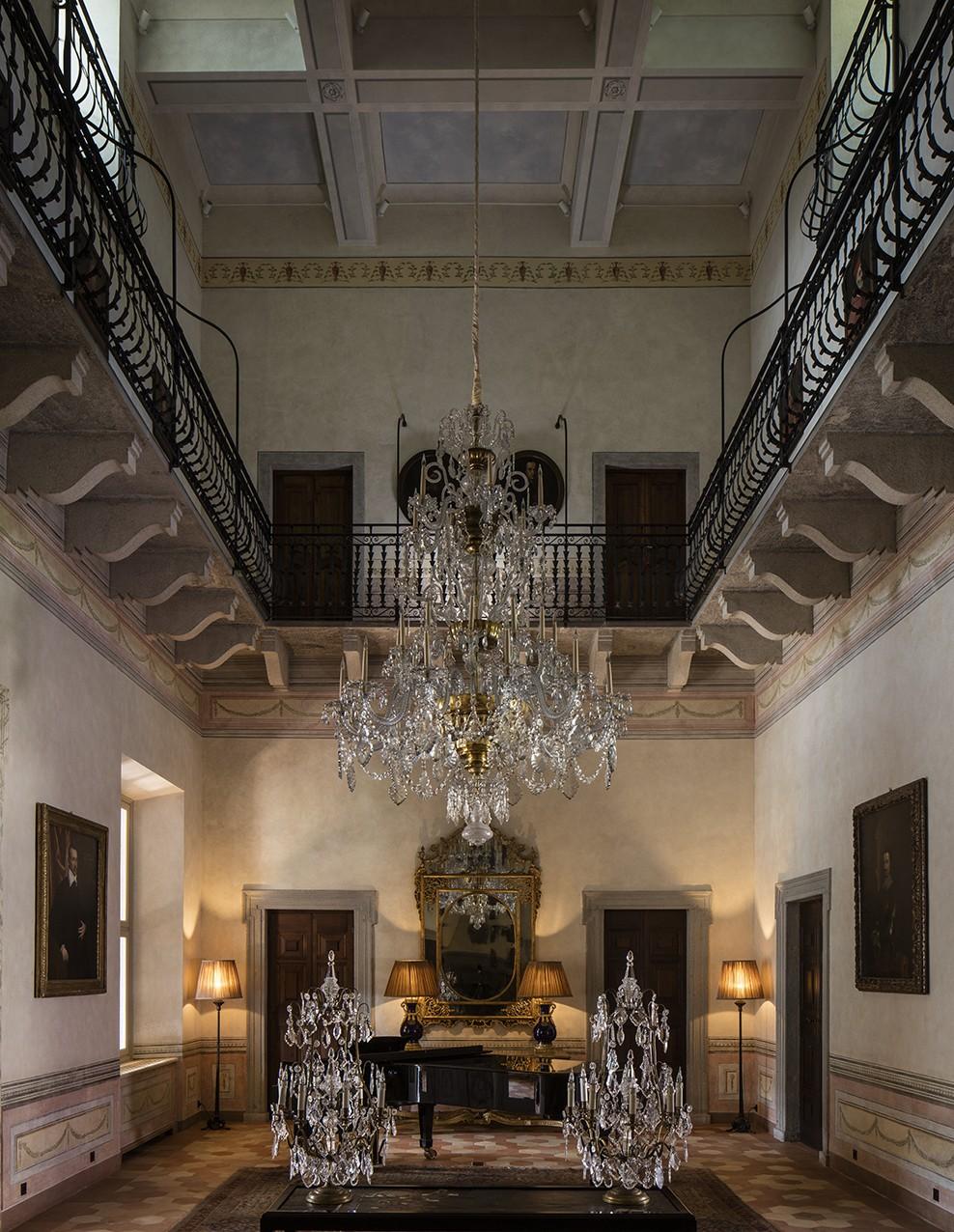 Villa Balbiano rental splendid private villa event venue on shores of Lake Como luxurious Salon Piano hall gran