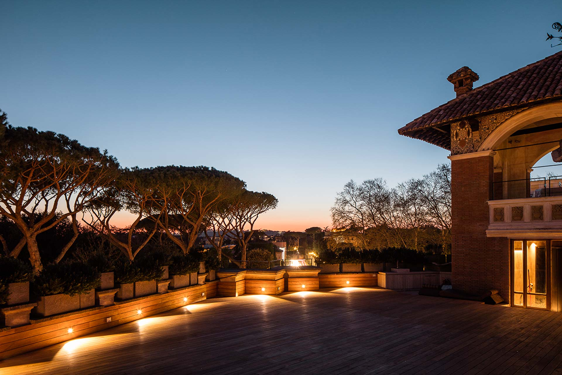 Villa Clara opulent property luxurious terrace guests enjoy 365 degree views of Rome available for rent exclusive events accommodation