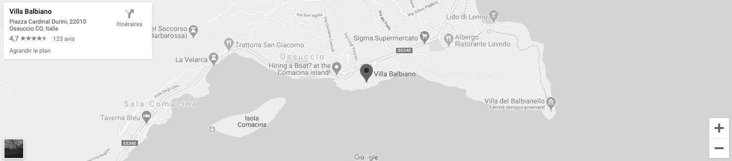 Villa Balbiano Map