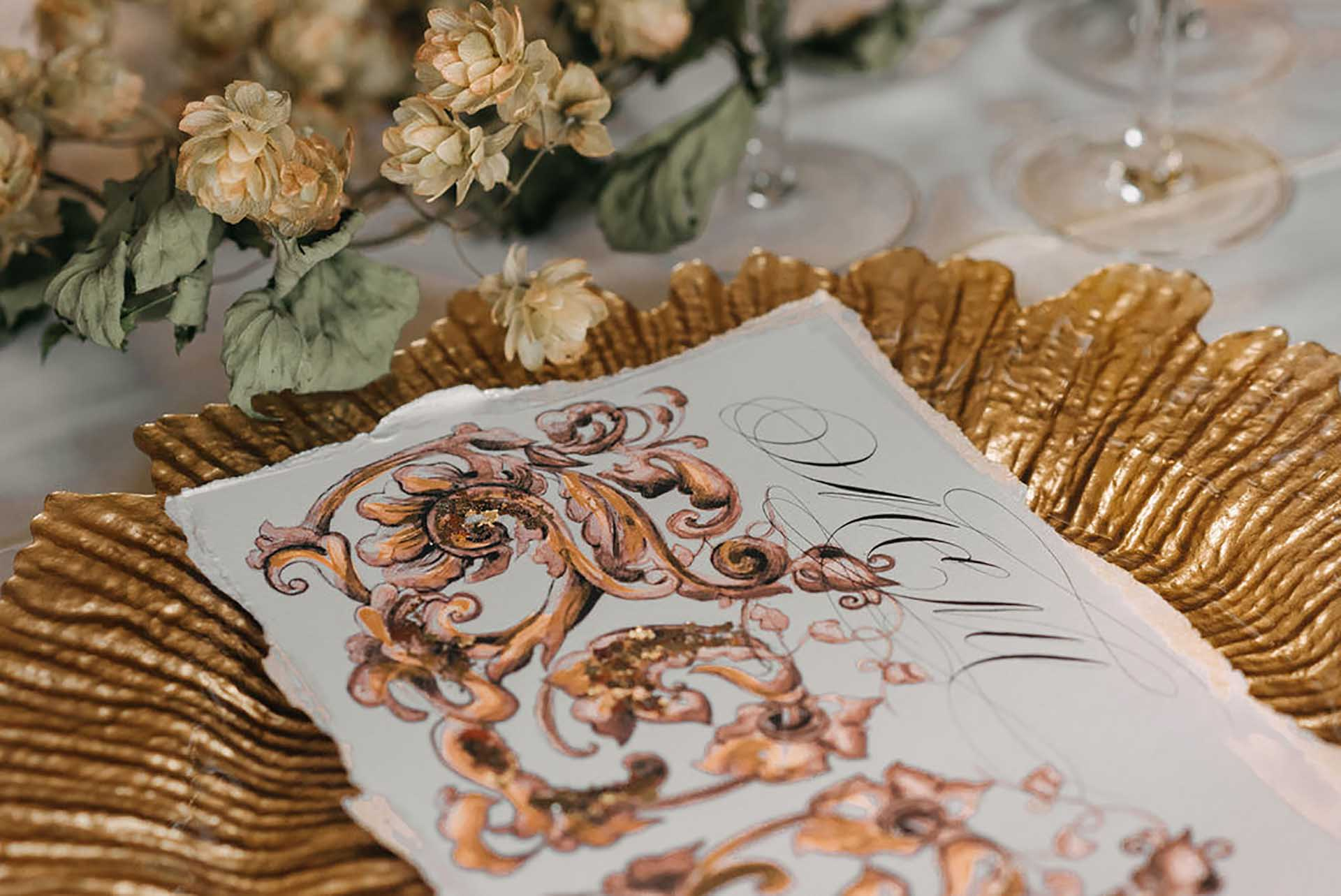 Luxury custom designed copper and gold baroque style menu design for a classical wedding
